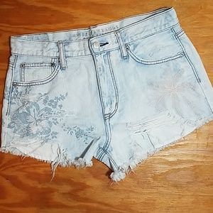 AE light wash vintage high rise festival shorts